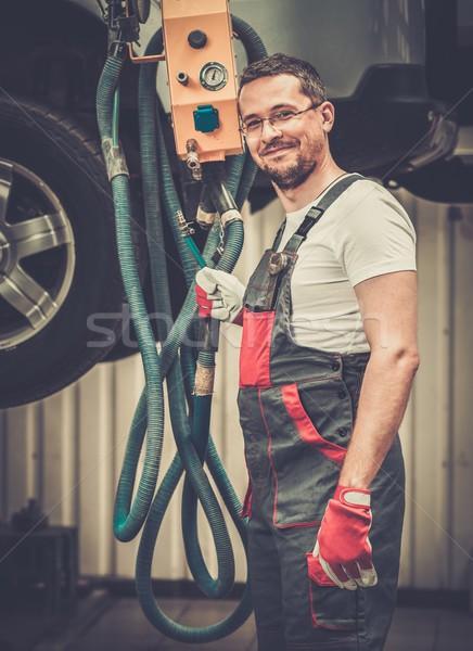Serviceman in a car workshop Stock photo © Nejron