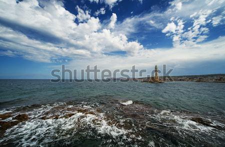 Belo farol azul nublado céu nuvens Foto stock © Nejron