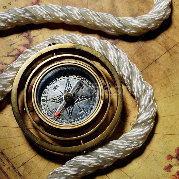 Bussola corda vecchia mappa mappa sfondo terra Foto d'archivio © Nejron