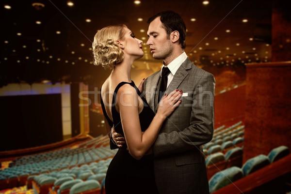 カップル 劇場 インテリア 女性 映画 椅子 ストックフォト © Nejron