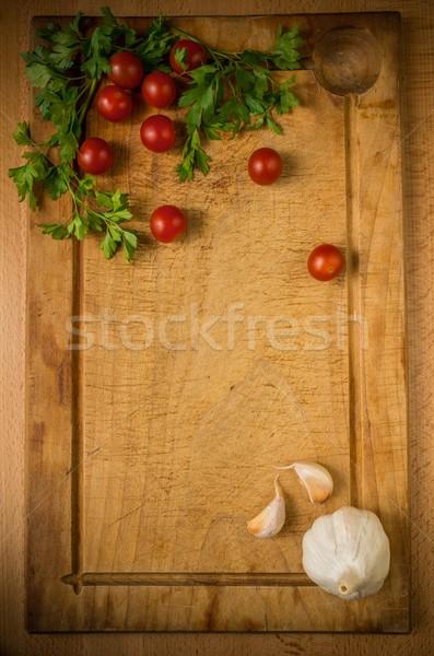 Yemek hazırlık süreç sağlık restoran akşam yemeği Stok fotoğraf © Nejron