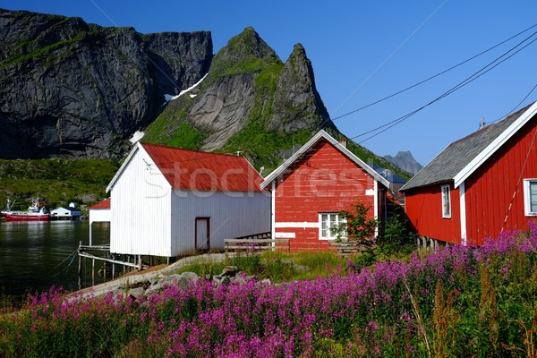 Stock photo: Traditional wooden houses against mountain peak in Reine village, Norway