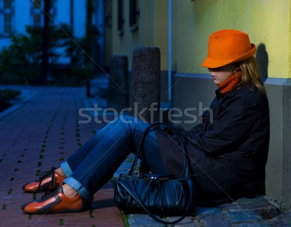 Stock fotó: Gyönyörű · lány · európai · öreg · éjszakai · város · idő · város