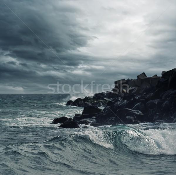 嵐の 空 海 ビーチ 水 雲 ストックフォト © Nejron
