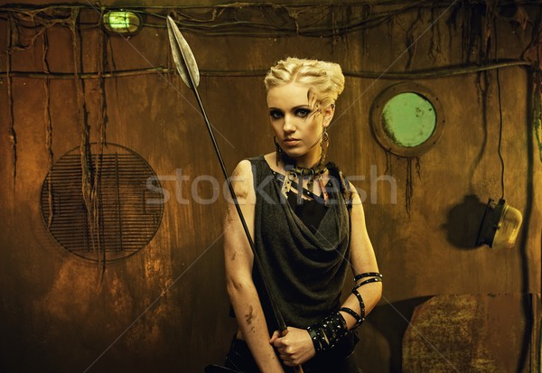 Woman with a spear in a bunker Stock photo © Nejron