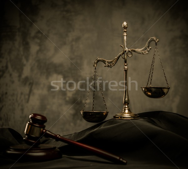 Scales and wooden hammer on judge's mantle  Stock photo © Nejron