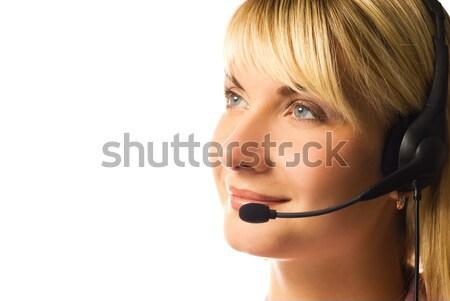 Amistoso línea directa operador aislado blanco mujer Foto stock © Nejron