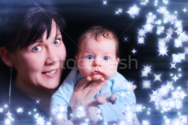 High key mother and child portrait toned in blue Stock photo © Nejron