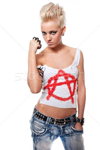 Punk girl with a brass knuckles. Stock photo © Nejron