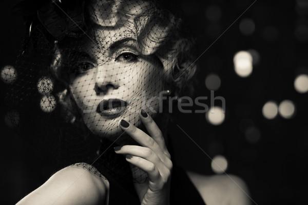 In bianco e nero foto elegante retro donna Foto d'archivio © Nejron
