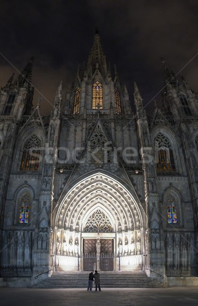 Cathedral of the Holy Cross and Saint Eulalia at night Stock photo © Nejron