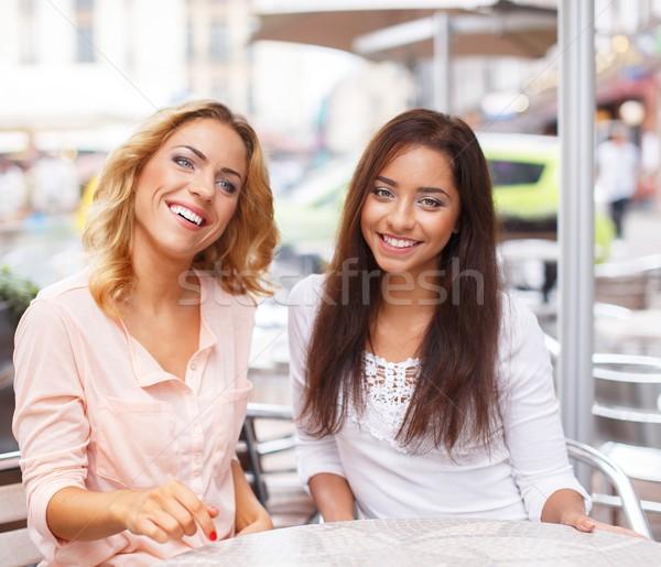 Foto stock: Dois · belo · meninas · verão · café