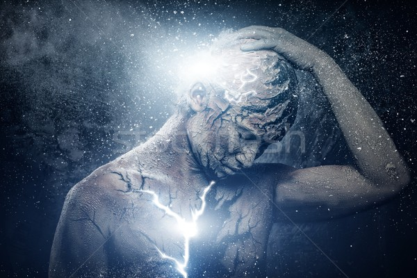 Férfi spirituális testművészet fény festék villám Stock fotó © Nejron