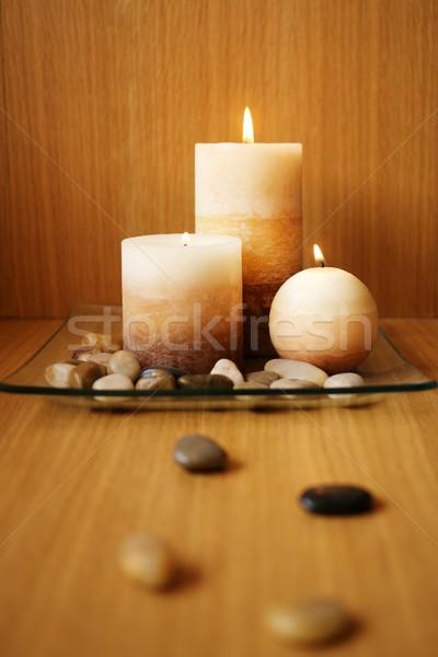 Bella candela design muro luce pietra Foto d'archivio © Nejron