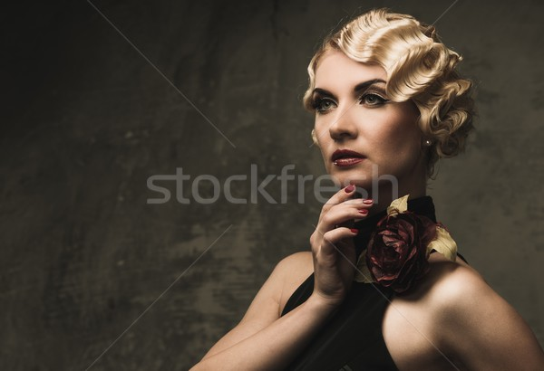 Elegant blond retro woman  in black dress with beautiful rose flower Stock photo © Nejron