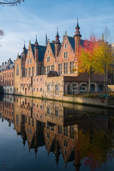 Casas canal Bélgica cielo edificio ciudad Foto stock © Nejron