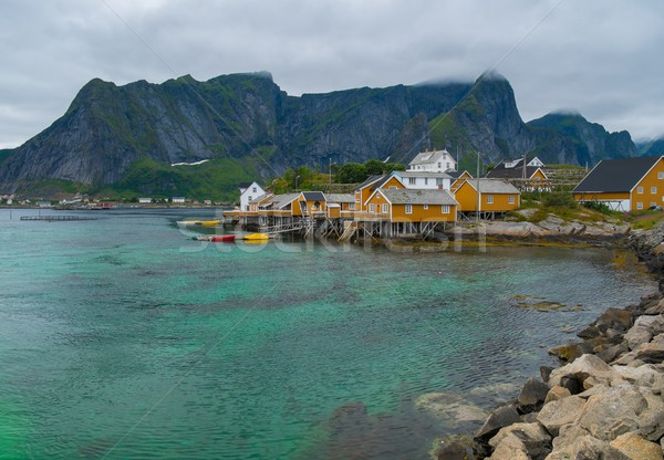 Traditional wooden houses in Reine village, Norway Stock photo © Nejron