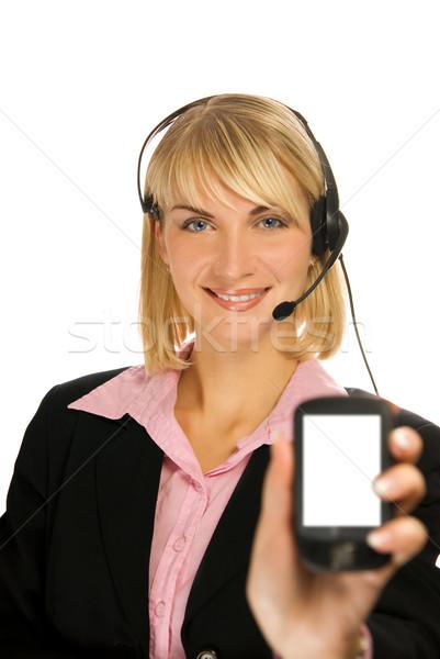 Mooie hotline exploitant mobieltje hand geïsoleerd Stockfoto © Nejron