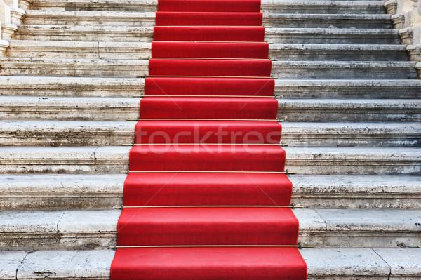 Antica scale coperto tappeto rosso design hotel Foto d'archivio © Nejron