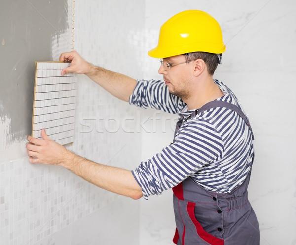 Oluşturucu karo duvar ev inşaat Stok fotoğraf © Nejron