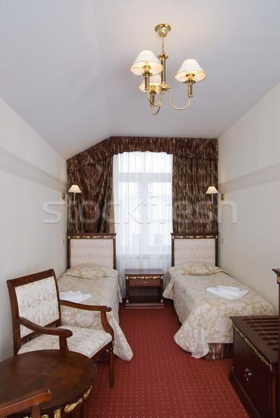 Chambre d'hôtel deux personnes mur lumière chambre Voyage Photo stock © Nejron