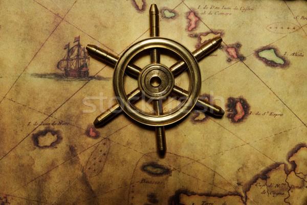 Sea wheel on the old map Stock photo © Nejron