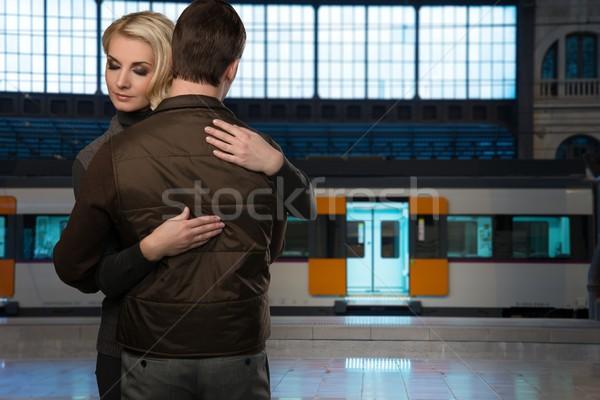 Güzel çift tren istasyonu kadın kadın Stok fotoğraf © Nejron