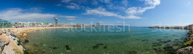 Stock fotó: Gyönyörű · Barcelona · tengerpart · panoráma · naplemente · óceán