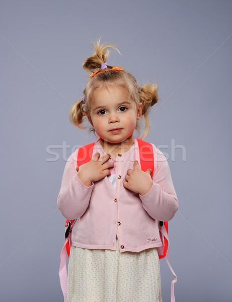 Funny mały uczennica plecak odizolowany szary Zdjęcia stock © Nejron
