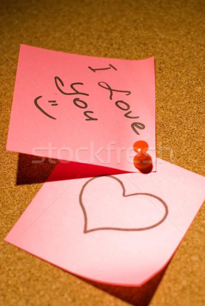 Love message on a corkboard Stock photo © Nejron