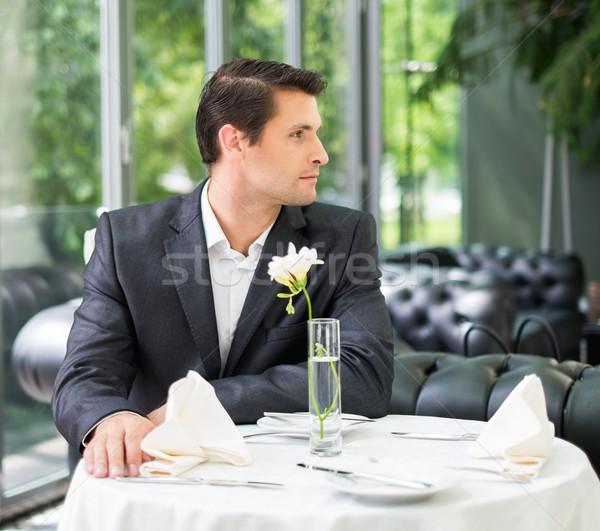 красивый мужчина куртка ждет кто-то ресторан бизнеса Сток-фото © Nejron