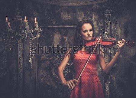 Getatoeëerd mooie vrouw oude interieur meisje Stockfoto © Nejron
