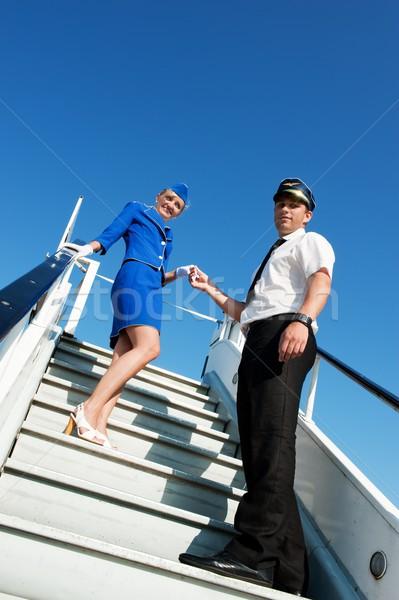 Foto paar mannen Blauw luchthaven Stockfoto © Nejron