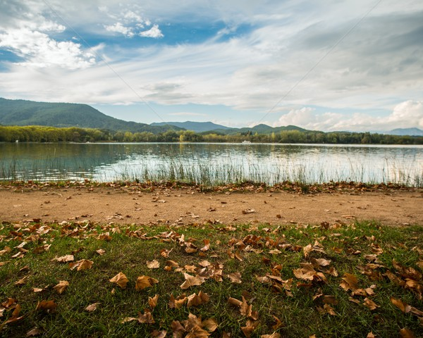 Walkway on  Lake of Banyoles shore, Spain Stock photo © Nejron