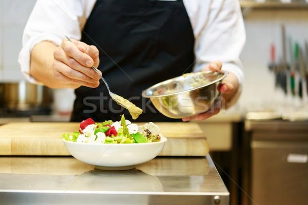 Capo cuoco insalata alimentare lavoro metal Foto d'archivio © Nejron