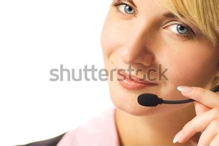 Beautiful hotline operator with headset isolated on white backgr Stock photo © Nejron
