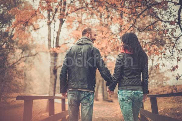 Stock foto: Glücklich · Paar · Freien · schönen · Herbst