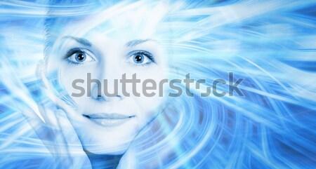 Beautiful girl on abstract background (high-key portrait toned i Stock photo © Nejron