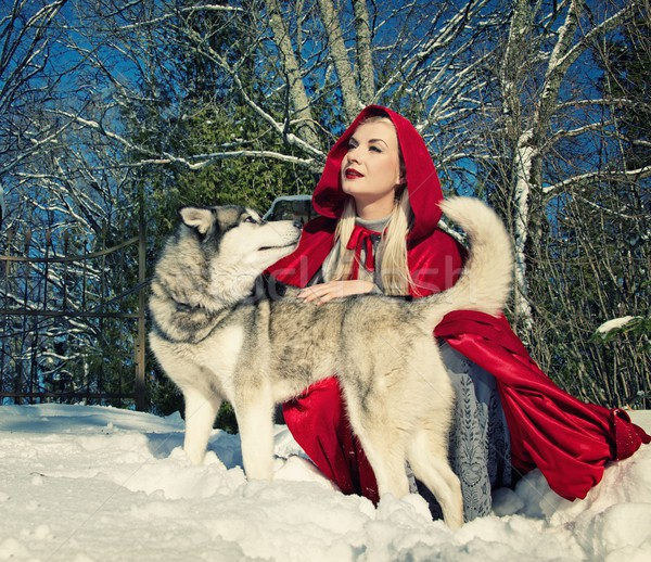Red hood with a wolf Stock photo © Nejron