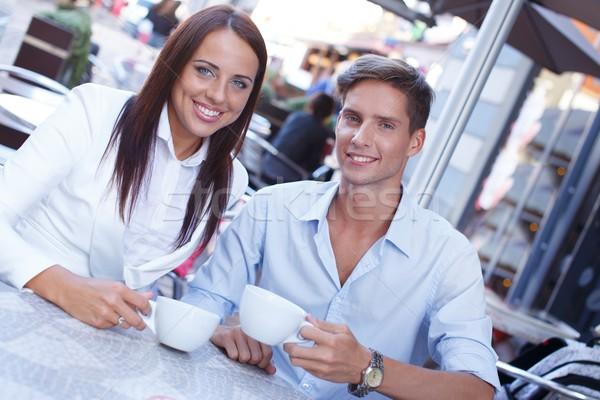 сидят лет кафе город Сток-фото © Nejron
