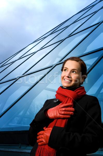 Belo mulher jovem edifício moderno negócio mulher Foto stock © Nejron