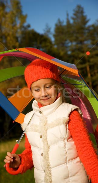 ストックフォト: 美しい · 女の子 · 傘 · 森林 · 自然 · 子