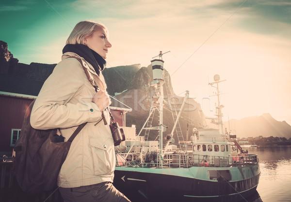 Woman traveler in Reine village, Norway  Stock photo © Nejron