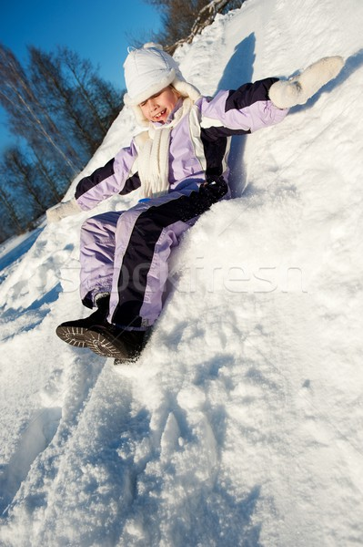 Küçük kız kar doğa mavi eğlence hızlandırmak Stok fotoğraf © Nejron