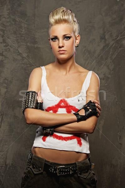 Punk nina pie mujer cara moda Foto stock © Nejron