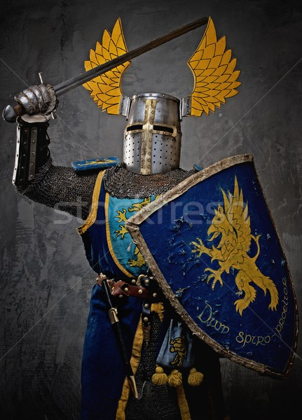 Medieval knight in attack position. Stock photo © Nejron