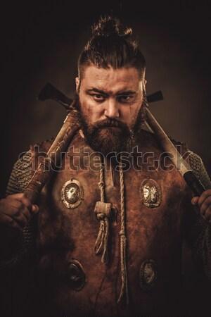 Középkori lovag kard pajzs kőfal férfi Stock fotó © Nejron