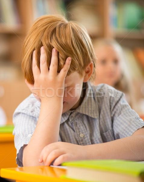 Stockfoto: Weinig · schooljongen · achter · school · bureau