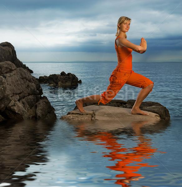 Foto d'archivio: Bella · yoga · esercizio · esterna · cielo