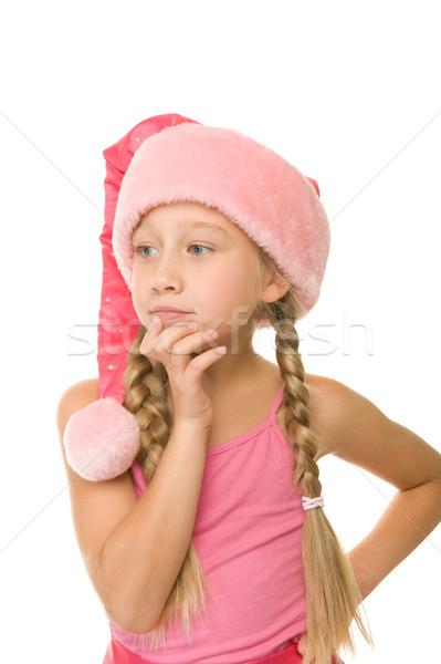 Portre küçük Noel kız mutlu arka plan Stok fotoğraf © Nejron